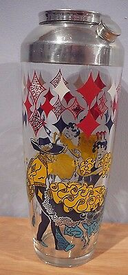 VINTAGE  COCKTAIL SHAKER 32 oz Spanish dancers Harlequin Ballerina