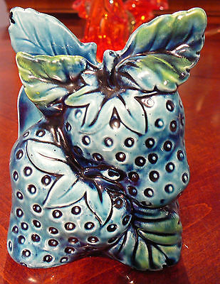 Vintage Blue Porcelain Strawberry Napkin Holder