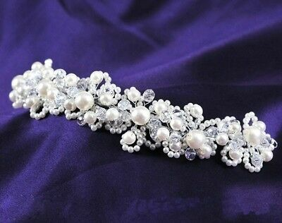 Bridal Headpiece Wedding Faux Pearls Crystal White Headband Hair Band Tiara Prom