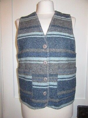 Vintage 1990's New Frontier Wool Mix Blanket Style Waistcoat Uk Size 10-12