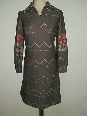 Vintage 1970's Day Dress Long Sleeves Geometric Print Mod Dolly Bird Size Uk 12