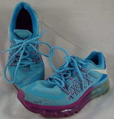 Nike Air Max 2015 GS Blue Fuchsia Youth Girls Size 5.5Y Athletic Running Shoes