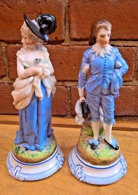 Pair Of Antique Ernst Bohne And Sons Dresden Figurines In Blue Marked Ebs 463