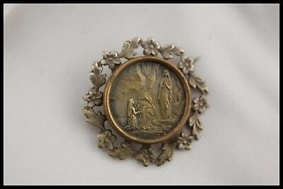† OUR LADY of LOURDES / ST BERNADETTE STERLING PIN BROOCH ART NOUVEAU FRANCE †