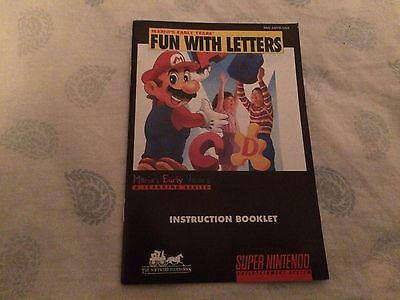 Snes Mario Fun with Letters Manual Only