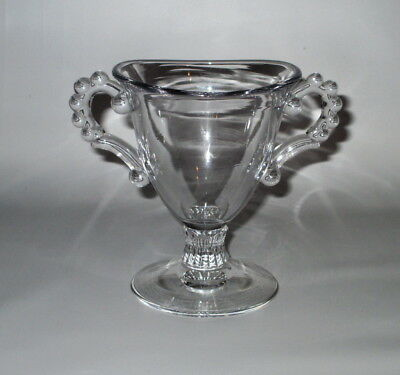 """Pasabahce Turkey Clear Beaded Glass Double Handled Sugar Bowl Footed 4 3/8"""""""