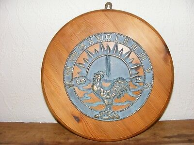 WALL SUNDIAL on WOODEN PLAQUE 35cm Diameter