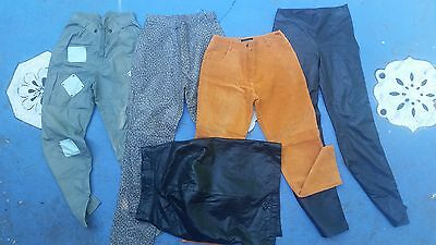 Vintage 80s 90s Leather Pants and Skirt Lot Suede High Waist Leopard Print