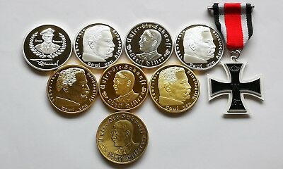 German A Hitler, P V H, E Rommel Gold & Silver & Plated Coins + Free Medal