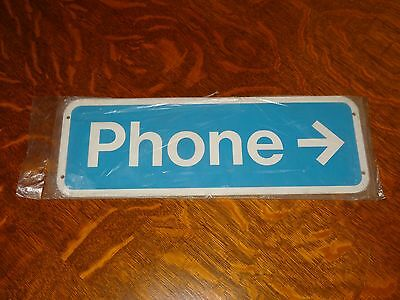 Vintage Metal Phone Sign With Arrow - New In What's Left Of Original Wrapper