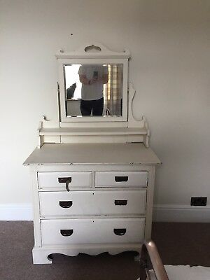 Lovely Antique Shabby Chic Edwardian Dressing Table Chest of Drawers Off White