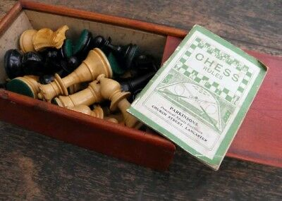 50's Vintage Weighted Boxwood Staunton Chess Pieces in Hardwood Box VGC