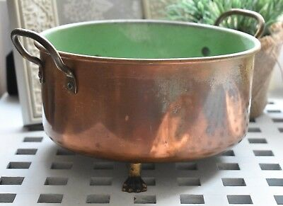 Old Copper Pot Kitchen/Plant Pot With Handles And Three Legs   (Ref121)