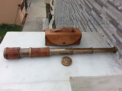 Old Brass Telescope Antique Spyglass Leather Engraving Scope Pirate Vintage