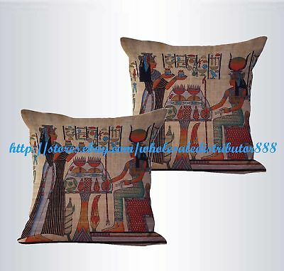 set of 2 Egyptian Ancient Art cushion cover replacement cushion covers