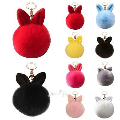 Pompon Fluffy Women Rabbit Ear Fur Ball Key Chain Rings Bag Keychain S1#