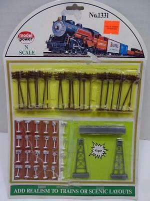 Model Power N Scale 1331 Telephone Poles,signs 51 Pcs. New Free Shipping.