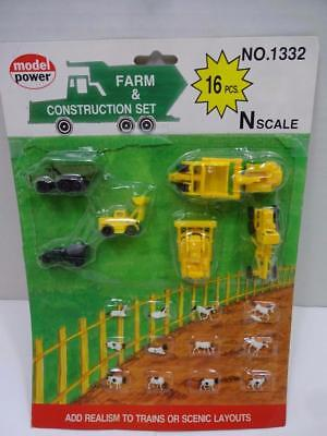 Model Power N Scale Farm & Construction Set 1332. New Free Shipping.