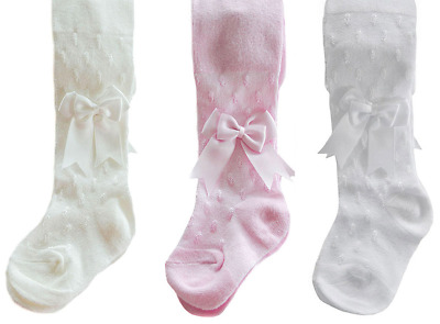 Baby BOW tights christening Spanish Romany girl pink white ivory