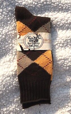 Vintage Thom McAn Men's Argyle Socks Browns, Yellow & Burgundy  G1