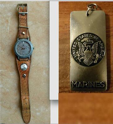 RARE WATCH US Army : Watch Strap with military photo + W.A. US Army + marines