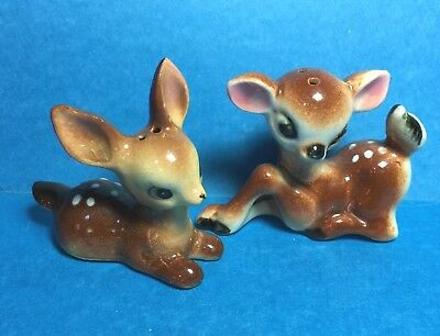 Vintage Ceramic Fawn/ Doe/Deer Salt and Pepper Shakers