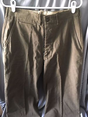 Vintage 40s Post WWII US Army Military Wool Green Pants Button Fly 30x31 Dress S