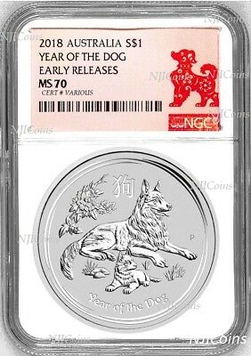2018 P Australia Silver Lunar Year of the DOG NGC MS 70 1 oz Coin ER Perfect
