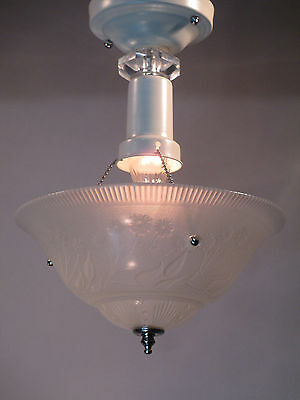 "Vintage Antique Art Deco Semi Flush Mount Ceiling Light Fixture Chandelier 13"" L"