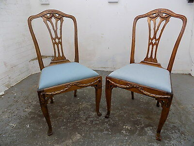 pair,antique,French,Louis,oak,cabriole legs,carved,chairs,two,bedroom,hall,chair