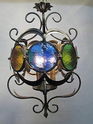 """Vintage Antique Italian Black Stained Glass Chandelier Boho Style Retro 38 1/2"""""""