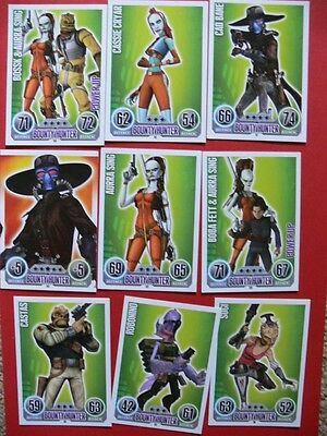 Topps Force Attax Star Wars Trading Cards. Blue. 9 Bounty Hunter Cards.