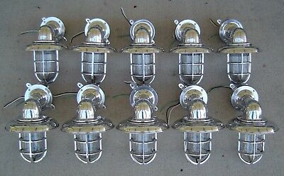 Lot of 10 Aluminum Nautical Wall Mount Ship Lights With Rain Cap