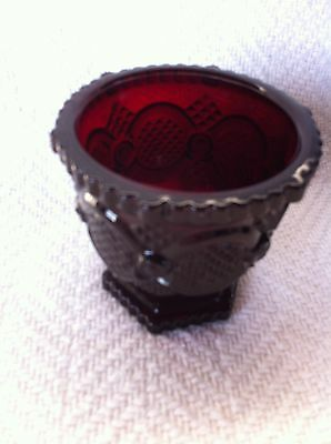 """Nos Avon 1876 Cape Cod Ruby Red 3 1/4""""  Footed Open Sugar Dish"""