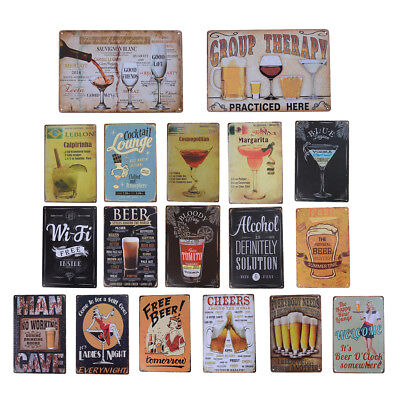 Cocktail Beer Metal Poster Wall Decor Tin Sign Wall Hanging Bar Cafe Home FT