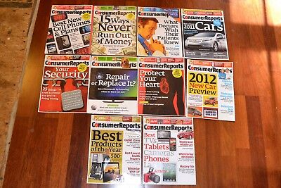Lot of 10 Consumer Reports Magazines 2011 including Auto Issues