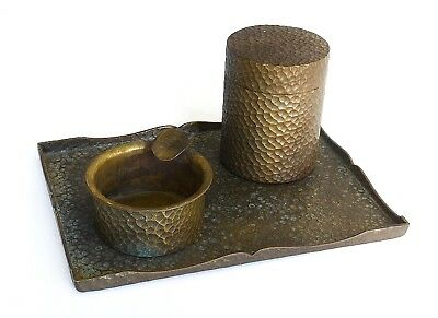 An Antique Arts & Crafts Style Hand Hammered Desk Set