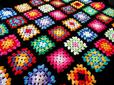 Handmade Retro Black MultiColoured Granny Square Crochet Baby Blanket Christmas