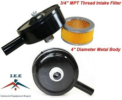 "Compressor Air Intake Filter Metal Body 4"" Dia - 3/4"" MPT with Paper Cartridge"