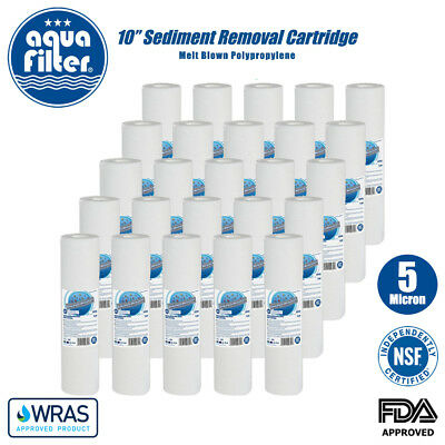 """AQUAFILTER 10"""" PP 5 Micron Particle Sediment Reverse Osmosis Water Filter x 25"""