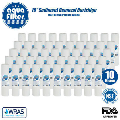 """AQUAFILTER 10"""" PP 10 Micron Particle Sediment Reverse Osmosis Water Filter x 50"""