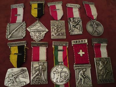 Rare Job Lot of 10 Swiss Shooting Medal & other S.S.V.-S.S.C. HUGUENIN LE LOCLE