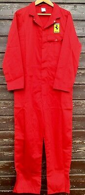 "Goodwood Revival Classic Style Ferrari Badged Red Polycotton Overalls 49""T Chest"