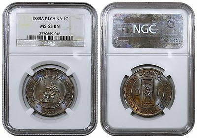French Indochina, Centime, 1888-A. Beautiful toning. NGC MS63 BN.