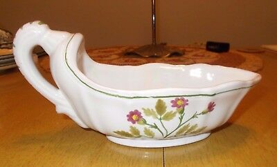 Hand Painted Italian Pottery Gravy Sauce Boat Purple Flowers Green Leaves & Band