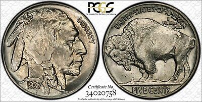 1937 Buffalo Nickel Pcgs Secure Ms65 65 Ms Registered Coin Gem Unc Bu Mint State