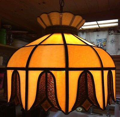 Vintage antique Stained Leaded Glass Lamp Shade Light Fixture Chandelier