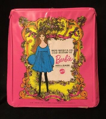 World of Barbie Doll 1968 Pink Case Mattel Teenage Doll 5 Outfits Collectible(2)