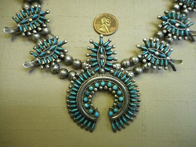 Vintage Zuni natural turquoise needlepoint cluster squash blossom necklace