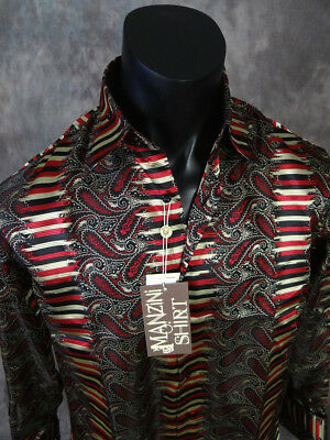 NEW Mens MANZINI Button Front Dress Shirt Black Red Gold with Sheen French Cuff